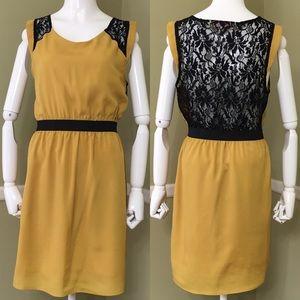 Francesca's Emmelee Yellow Gold Black Lace Dress